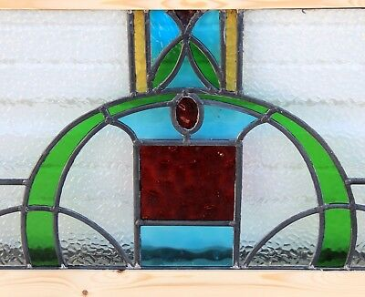 Antique English 5-Color Leaded Stained Glass TRANSOM Window Reframed Art Deco #2