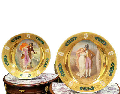 Large Pair Antique Hand-Painted Royal Vienna Porcelain Plates Chargers 19th Cen
