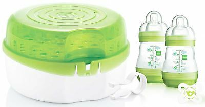 Mam MICROWAVE STEAM STERILISER Quick Safe Baby Bottle Feeding Drying Rack BN
