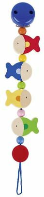 Heimess FISH CLIP ON DUMMY/SOOTHER/PACIFIER CHAIN Wooden Baby/Child Toy BN