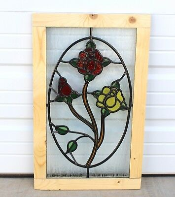 Antique English 5-Color Leaded Stained Glass Window Reframed ROSE PATTERN