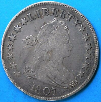 1807 Draped Bust Heraldic Eagle Silver Half Dollar VG/F-Details, Rim Dings