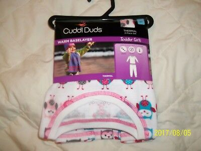 Girls 2 Pc Cuddl Duds Thermal Set - Sz 5T - White/owls -  Nwt!
