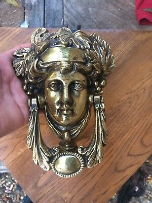 Vintage Brass Door Knocker Athena or The face of The Statue of Liberty