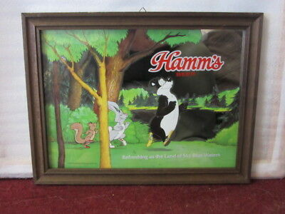 Vtg Hamms Beer Sign Old Glass Mirror With Squirrel Rabbit Bear Game Room Bar Pub