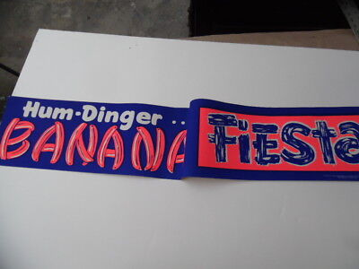 1961 Hum-Dinger DayGlo Banana Fiesta Paper Sign Vintage Atomic Age Drive-In BIG