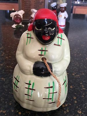 Vintage Mccoy painted Ceramic Black Americana Mammy String Holder 50's