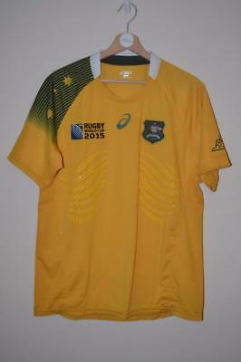 Bnwt Australia Asics World Cup 2015 Rubber Fitted Rugby Union Test Shirt Large
