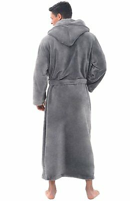 Mens Long Hooded Bathrobe Full Length Fleece Robe with Pockets Large XL Gray
