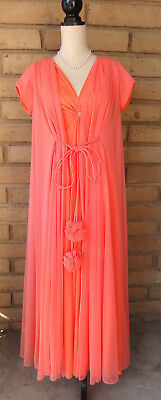 Reduced! Vintage Peignoir Claire Sandra By Lucie Ann Of Beverly Hills Tangerine