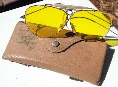 Vintage B&L Ray Ban Bausch & Lomb 1/10 12k GF Shooters Outdoorsman Yellow 1960's