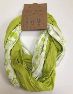 Girls Double Infinity Lightweight Donut Scarf For Kids~Bright Green & White~NWT