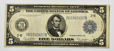 1914 $5 Federal Reserve Large Note Fr#851B New York B61849487B Lincoln VF