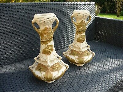 Superbe Paire De Vases Art Nouveau Porcelaine Royal Dux Decor Vegetal  1900