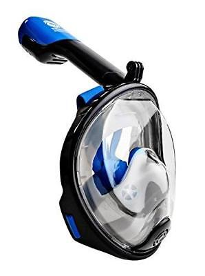 WildHorn Outfitters Seaview 180 Degree Snorkel Mask Panoramic (Navy, XS)