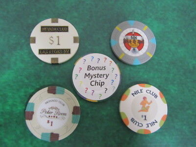 4 Casino CHIP LOT $1 Nevada Club Las Vegas Monaco Poker Room Nile, Rock & Roll