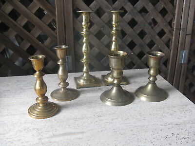 Vintage 3 Pair of Solid Brass Candlestick & Votive Holders
