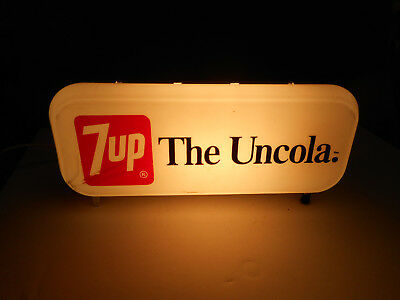 """7-UP Light up Logo Grocery Store Advertising Plastic Soda Sign 10""""W 4""""T 3""""D"""