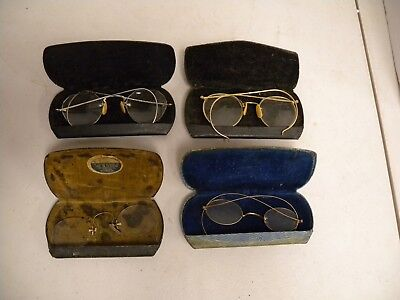 4-Antique Glasses w/Cases, 2 pair 12 KT Gold, 2 pair not marked