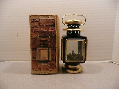 Vintage Hurricane Carriage Style Oil Lamp Black and Brass Tone - NOS in box