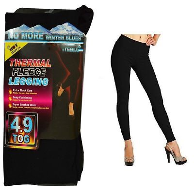 New Ladies Women Thermal Leggings Fleece Lined Winter Thick Black 4.9 Tog S-Xl