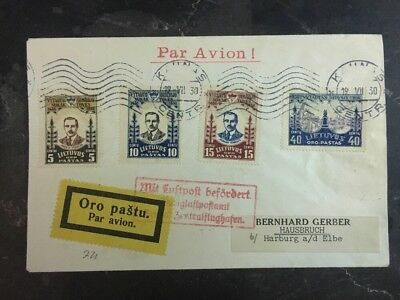1920 Kaunas Lithuania Airmail cover To Haisbruch Germany S# C40-42C44