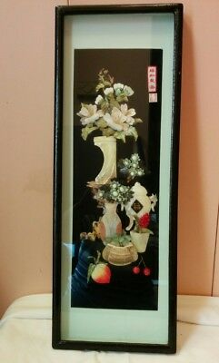 Vnt Chinese 3d Carved Mother of Pearl 3-D Shadow Box Framed Wall Decor Asian