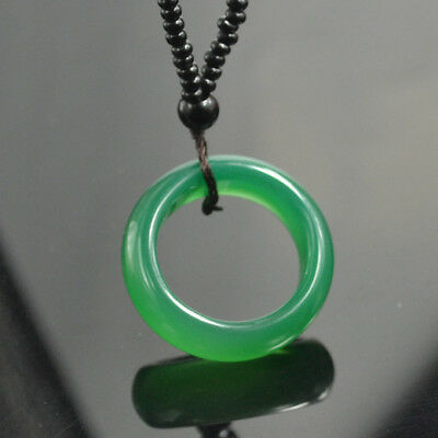 Green Jade ring Lucky Pendant Chinese jade carving necklace Bride jewelry