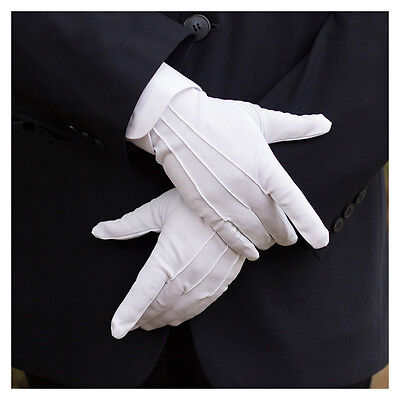 1 Pair Mens White Formal Gloves Tuxedo Honor Guard Parade Santa Inspection New