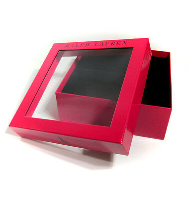 """Ralph Lauren Polo Large Square Empty Gift Box 8.5"""" x 8.5"""" x 3"""" - Red, Clear Top"""