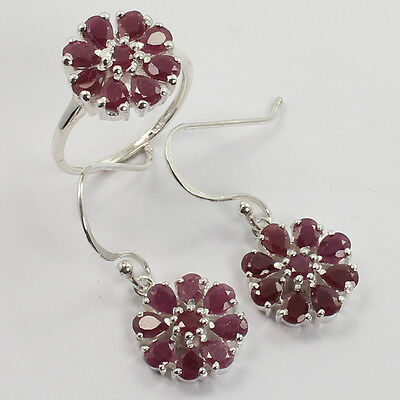 100% Natural RUBY Gems 925 Sterling Silver Best Love Gift Earrings and Ring Set