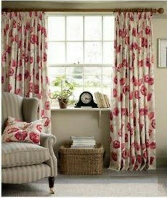 Laura Ashley Cranberry Poppy Curtains × 4