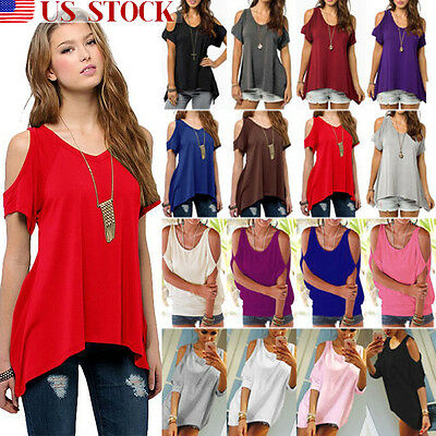 US Womens Summer Cold Shoulder Loose Top Short Sleeve Casual Tops T-Shirt Blouse