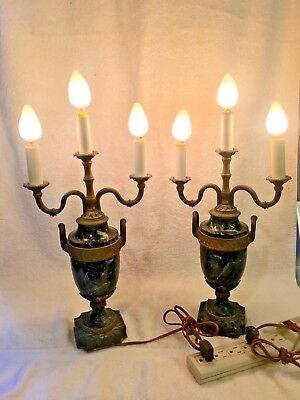 Pair Of Antique Black Marble And Bronze French Candelabra Table Lamps