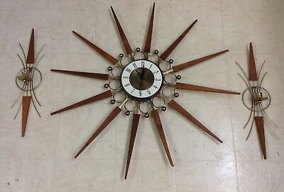 "Mid Century Elgin Atomic Age 30"" Starburst Wall Clock w/Matching Wall Sconces"