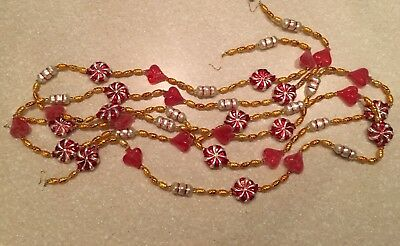 RETIRED Christopher Radko TWO 6FT STRANDS Vintage Glass Garland PEPPERMINT CANDY