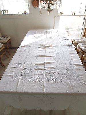 Antique c1900 FRENCH Embroidery 12 napkins  Tablecloth 102 x 68 Appenzell