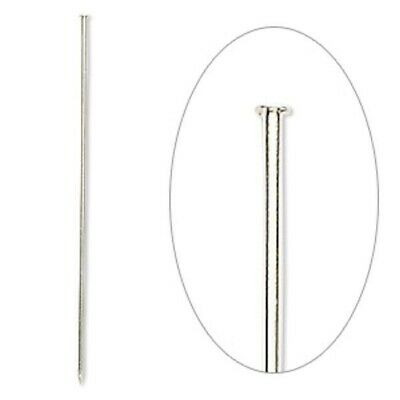 500 Silver Plated Brass 3 Inches Long 18 Gauge Hat Stick Pins with Clutches