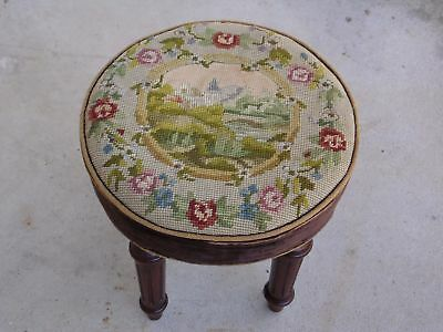Antique 19th c Petite Mahogany Round Footstool Ottoman Cricket Stool Needlepoint