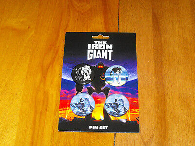 The Iron Giant Badge Pin Button set of 4 Sci Fi (RARE) (NEW) Limited Ed