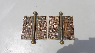 "Antique Vintage BALL TOP BRASS HINGES ORNATE DESIGN ONE PAIR 4 1/2"" X 4 1/2"""