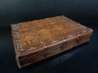 J5774: Japanese Old Bamboo Ajiro-shaped CONTAINER Accessories Case Box