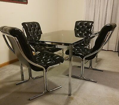 Retro 70s ◇ Vintage ◇ Chrome ◇ Smoked Glass ◇ Kitchen◇ Dining Table & 4 Chairs