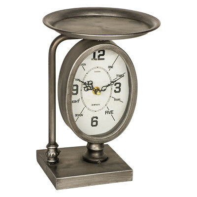 Vintage Style Grey Metal Dish Oval Mantel Desk Shelf Clock with Stand