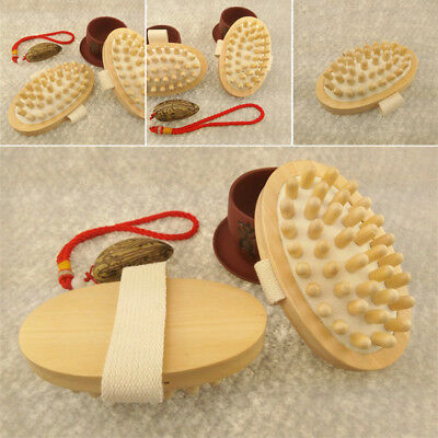 Hand-Held Wooden Body Brush Massager Cellulite Reduction Relieve Tense Muscles