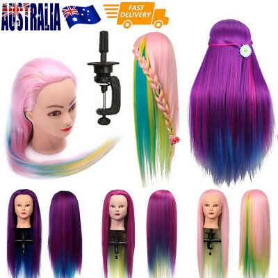 """27"""" Colorful Hairdressing Hair Salon Mannequin Practice Doll Training Head+Clamp"""