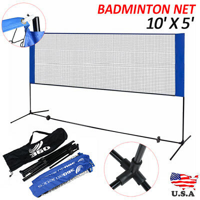 10'X5' Height Adujstable Badminton Net , Tennis Volleyball with Stand / Frame
