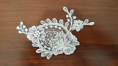 French Lace Embroidered Motif, Applique, Trim In White Colour