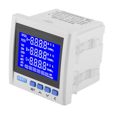 3-Phase Electric Current Voltage Frequency Power Energy Meter V A Hz kWh RS485