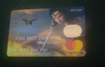 Wonder Woman Gift Card, Gal Gadot, DC Comics Vanilla, 0 value, Collectible Mint